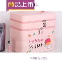 雾花化妆包大容量可爱便携大号化妆箱手提双层化妆品收纳箱SN8488 粉色hello jane