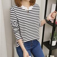 新款秋季韩国条纹长袖T恤女宽松胖大码女装上衣学生打底衫