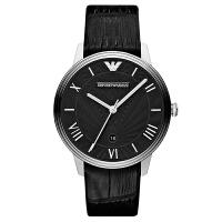 阿玛尼(Emporio Armani)手表皮质表带男士黑色经典商务时尚石英表男士腕表AR1611