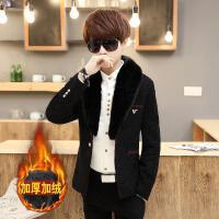青少年个性短款毛领风衣男冬季韩版加绒加厚呢子大衣潮男休闲外套