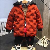 韩国童装年新品男童女童个性拼色帽子中长款保暖羽绒B3-S37