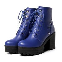 彼艾2018冬季新品欧美韩版街头BF风粗跟系带真皮高跟厚底中筒马丁靴短靴女