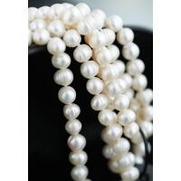 天然珍珠白色淡水项链女长款项坠吊坠毛衣链配饰送妈妈婆婆