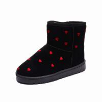 冬季雪地靴女短筒韩版2018新款加绒靴子爱心可爱学生百搭保暖棉鞋