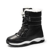 冬季户外滑雪靴女中筒靴防滑防水加绒保暖棉鞋东北旅游百搭雪地鞋
