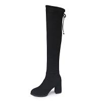 长靴女过膝2018新款秋冬季百搭长筒靴子高跟马丁靴粗跟弹力瘦瘦靴