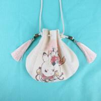 新款中国风帆布小斜挎少女荷包汉服印花手提袋古风手机包
