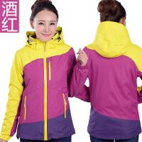 户外冲锋衣女三合一拼色抓绒内胆可拆卸两件套防风保暖登山服