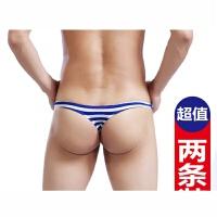2条装 夏季低腰情趣性感丁字裤T裤男士内裤透气U凸青三角裤