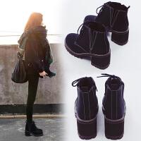 冬马丁靴女鞋粗跟春秋季2018新款韩版百搭英伦风学生短靴高跟单靴 黑色