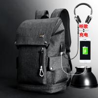 双肩包男背包电脑包防水休闲运动后背包男旅行包青年学生帆布书包