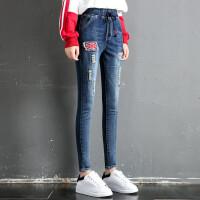 秋季款女式松紧腰牛仔裤弹力小脚铅笔裤学生紧身补丁长裤nzkqg, 深蓝色