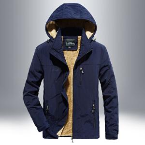 吉普盾男士夹克秋冬加绒外套户外男士休闲厚款速干冲锋衣功能上装男装外衣