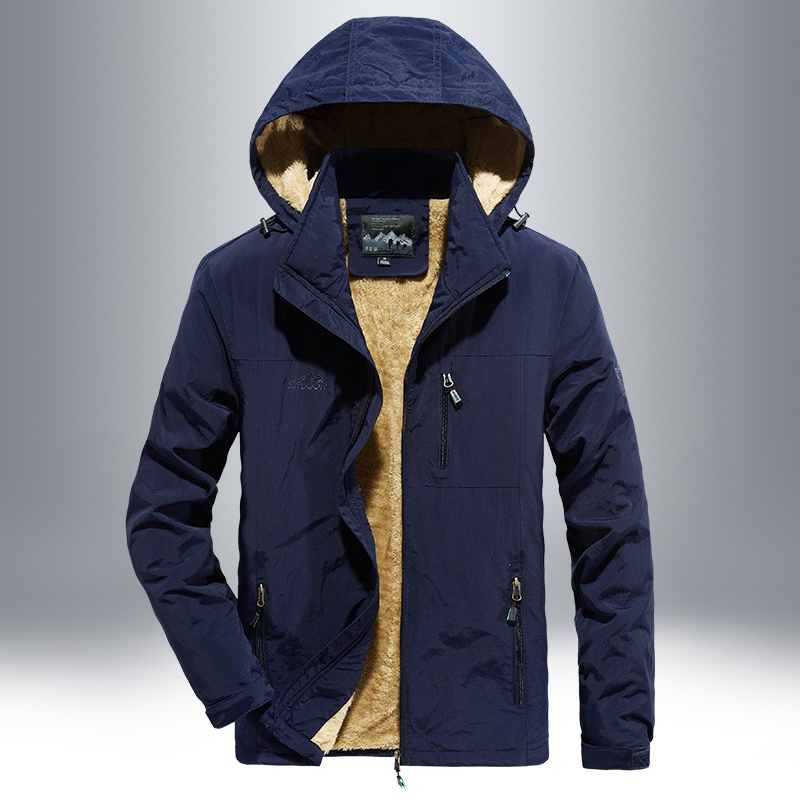 战地吉普AFS JEEP男士夹克秋冬加绒外套户外男士休闲厚款速干冲锋衣功能上装男装外衣加绒外套,材质用心