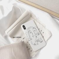 韩国iPhoneX/Xs/Max/XR苹果7plus手机壳性冷淡风线条白色8P软壳6S