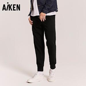 Aiken休闲裤男士2017秋装新款运动束脚小脚裤子个性潮学生长裤男