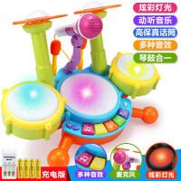 婴儿玩具一岁宝宝手拍鼓儿童音乐拍拍鼓可充电多功能女孩男孩 童趣爵士鼓带灯光音乐+送话筒【配充电】