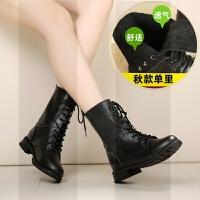 �R丁靴女靴子短靴平底真皮中筒靴瘦瘦靴百搭冬季2018新款女鞋SN8119