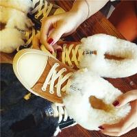 欧洲站冬季新款真皮羊毛雪地靴女低筒系带水钻棉鞋学生加绒女鞋潮