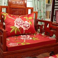 新古典红木沙发坐垫中式实木家具圈椅垫靠垫罗汉床垫子五件套定做 红色 繁华似锦