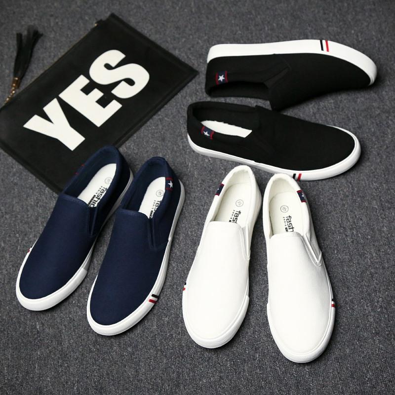 夏季男士休闲鞋男鞋一脚蹬鞋懒人帆布鞋男板鞋老北京小白鞋潮鞋子