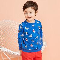 【1件3折到手价:31.5】moomoo童装儿童卫衣男春秋款条纹小宝宝洋气针织圆领套头上衣运动