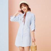 【2件2.5到手价:47.5】美特斯邦威春装新款韩版百搭衬衫裙条纹连衣裙女甜美可爱潮