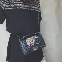 小香风包包2018新款潮韩版复古小方包百搭斜挎迷你小包菱格链条包