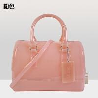 透明果冻包斜挎包包女2017新款韩版糖果色波士顿枕头包手提包小包SN2488 粉红色 22cm