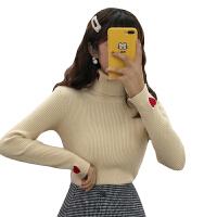 秋冬女装韩版修身显瘦爱心刺绣加厚高领套头打底衫针织衫毛衣上衣 均码