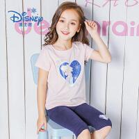 【8.20每满100减50】迪士尼冰雪奇缘童装女童夏装2018夏季新品短袖套装