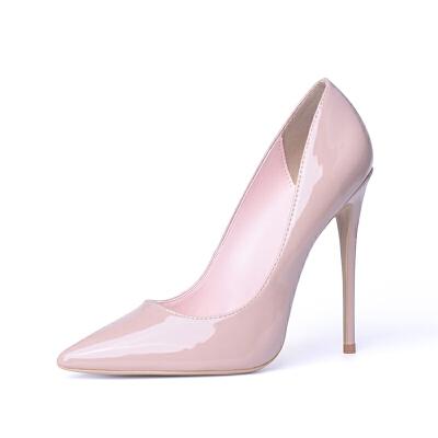 细跟尖头高跟鞋2018新款12cm欧美百搭浅口大码单鞋女职业鞋女秋季SN2565 杏色 杏色漆皮 6 =36码