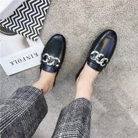 2018春季新款拖鞋女金属扣平跟鞋穆勒鞋个性包头拖鞋潮