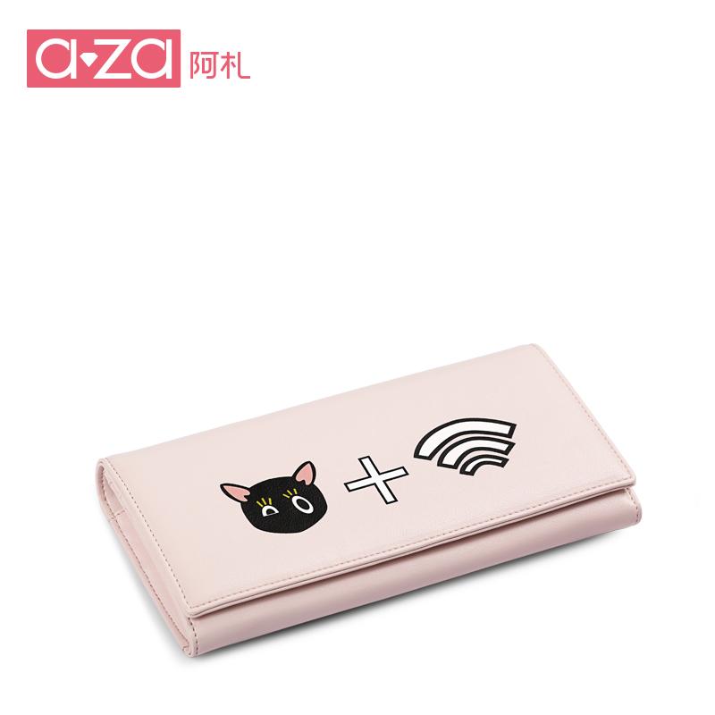aza阿札2017新款女包 潮流信号幻想猫咪wifi可爱 长款钱包7588