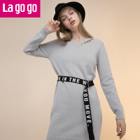 Lagogo/拉谷谷2019年冬季新款时尚V领长袖连衣裙