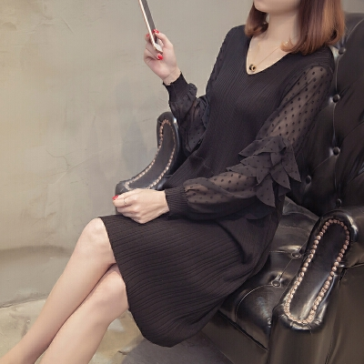 2018新款潮韩版女装春装蕾丝连衣裙针织套头毛衣打底衫长袖外套潮