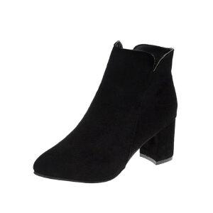WARORWAR新品YM29-5530秋冬韩版磨砂反绒粗跟高跟女士靴子短靴