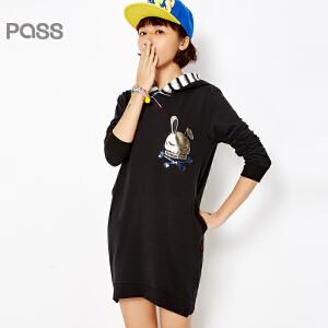 PASS女装春装新款 大码长袖条纹拼接连帽学院风黑色短连衣裙6612411026