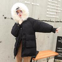 冬季女韩版宽松bf学院原宿风学生中长款工装棉衣外套