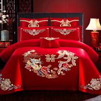 龙凤喜床上用房结婚四件套大红床裙新人喜被北欧双人婚嫁贴布1.5m