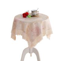 粉色圆形台布床头柜盖布正方形桌布田园长方形蕾丝茶几小圆桌布艺