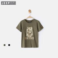 【每满100减50到手价:149】JEEP童装 男童卡通短袖T恤中大儿童体恤上衣简约休闲