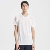 【1件2折到手价:39.8】MECITY男装纯色亚麻棉圆领运动短袖T恤