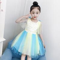 女童连衣裙夏装新款洋气童装韩版儿童裙子彩虹纱裙蓬蓬公主裙