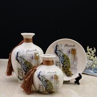 创意家居饰品陶瓷花瓶摆件装饰房间的小饰品酒柜电视柜摆设工艺品 冰裂瓷米色A2孔雀 小号