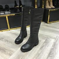 2017冬季新款女鞋牛皮圆头粗跟长筒过膝靴骑士靴欧货潮