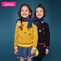 【券后价:70.2】笛莎童装女童针织衫冬装新款中大童儿童爱心亮片套头针织衫