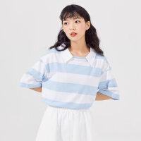 【5.16-5.17日抢购价:79.9】美特斯邦威女2020新款夏季女宽松色织条纹短袖polo