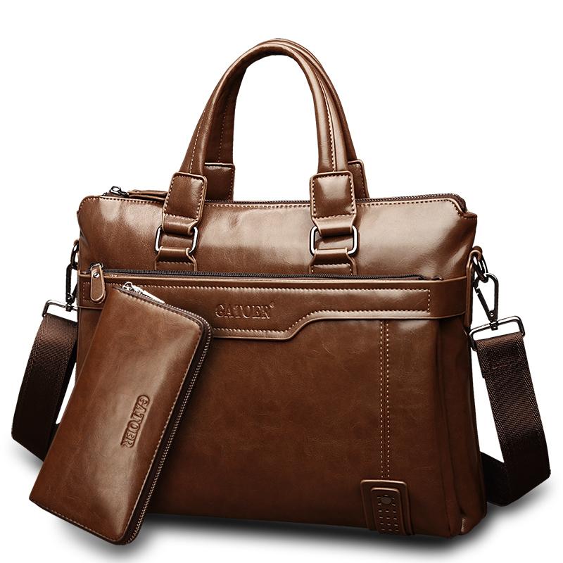 3件7折精品男包商务包男士包包横款手提包单肩包男公文包包电脑包斜挎包 普通版浅棕 单包