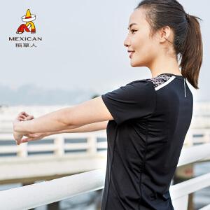 稻草人户外夏季速干衣女印花快干衣短袖运动T恤黑色圆领速干t恤